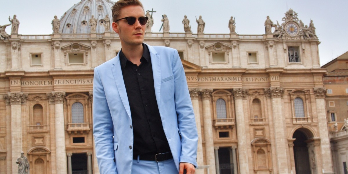 blue suit at the Vatican City 2-001