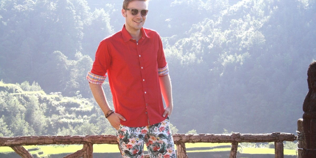 red sirt and floral printed pants in Banaue 5-001