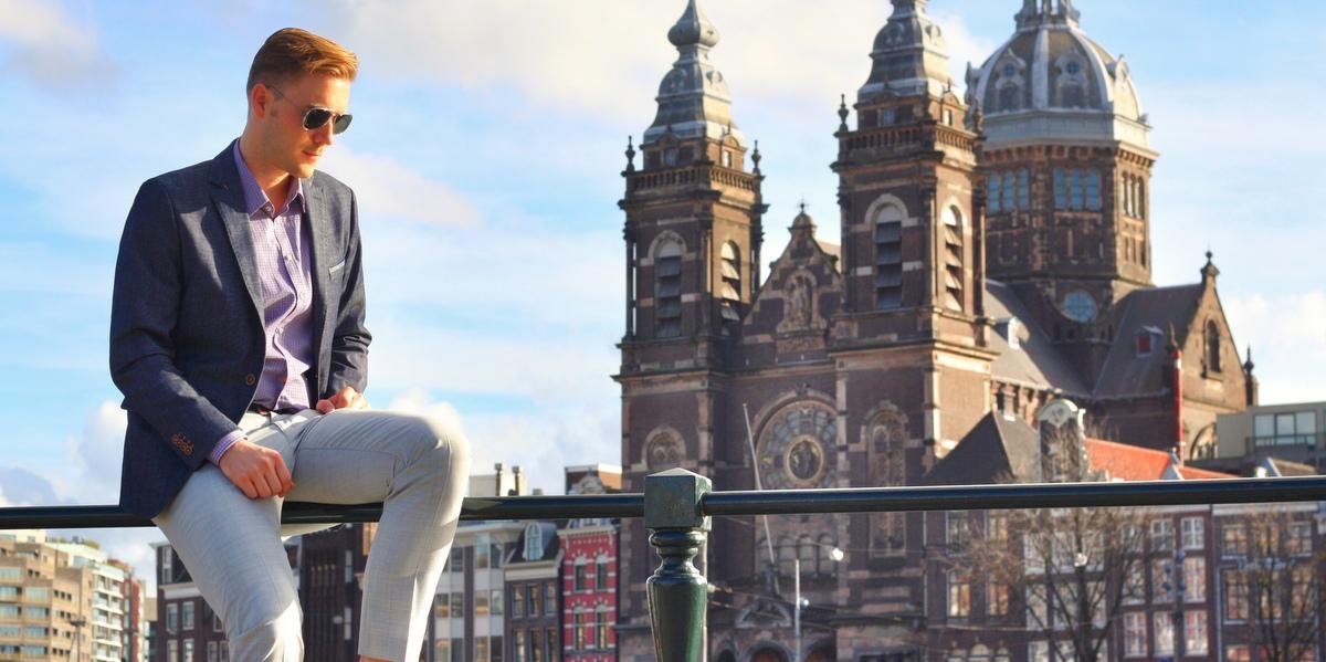 Amsterdam im Denim Blazer front